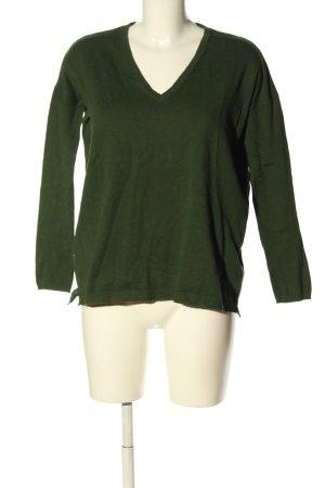 Zara Knit V-Ausschnitt-Pullover grün Casual-Look