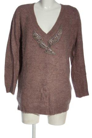 Zara Knit V-Ausschnitt-Pullover hellgrau abstraktes Muster Elegant