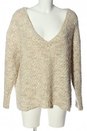 Zara Knit V-Ausschnitt-Pullover wollweiß meliert Casual-Look