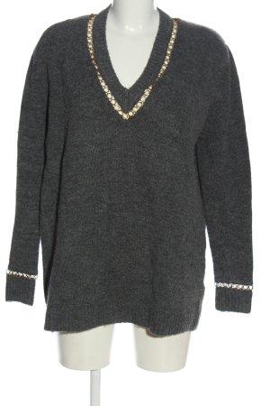 Zara Knit V-Ausschnitt-Pullover hellgrau-goldfarben meliert Casual-Look