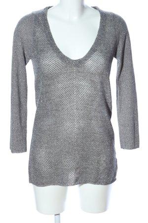 Zara Knit V-Ausschnitt-Pullover hellgrau Casual-Look