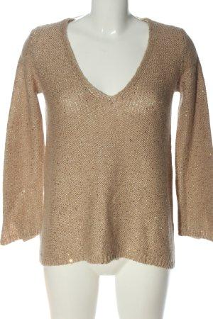 Zara Knit V-Ausschnitt-Pullover pink meliert Casual-Look