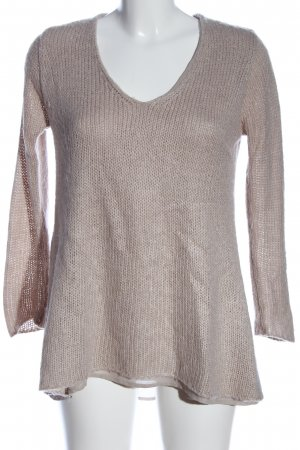 Zara Knit V-Ausschnitt-Pullover wollweiß Zopfmuster Casual-Look