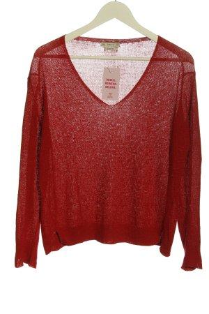 Zara Knit V-Ausschnitt-Pullover rot Casual-Look