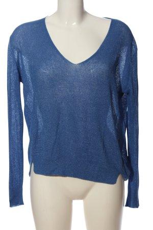 Zara Knit V-Ausschnitt-Pullover blau Casual-Look