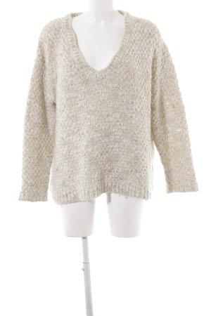 Zara Knit V-Ausschnitt-Pullover creme-wollweiß Casual-Look