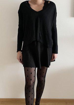 Zara knit v Ausschnitt Pullover hinten länger schwarz S