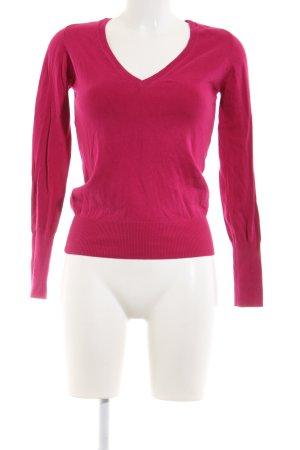 Zara Knit V-Ausschnitt-Pullover pink Casual-Look