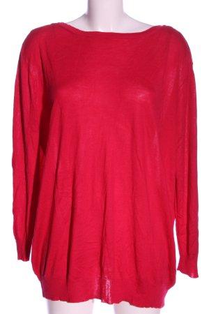 Zara Knit V-Ausschnitt-Shirt rot Casual-Look