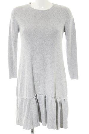 Zara Knit Robe à volants gris clair moucheté style décontracté