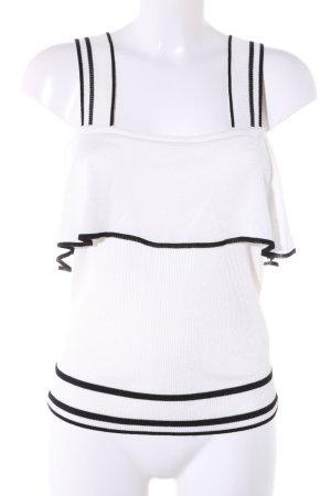 Zara Knit Top con balze bianco-nero motivo a righe stile casual