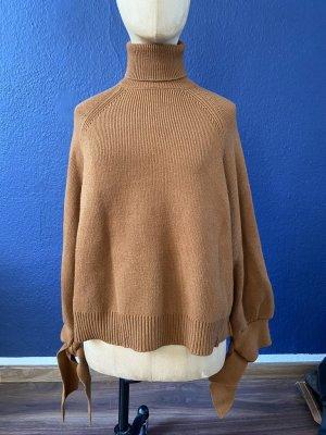 Zara Wool Sweater cognac-coloured wool