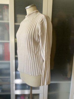 Zara Knit Woll Pullover Rippstrick creme Gr. 38