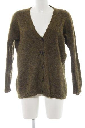 Zara Knit Wolljacke khaki Casual-Look