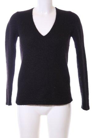 Zara Knit Wollpullover schwarz Business-Look