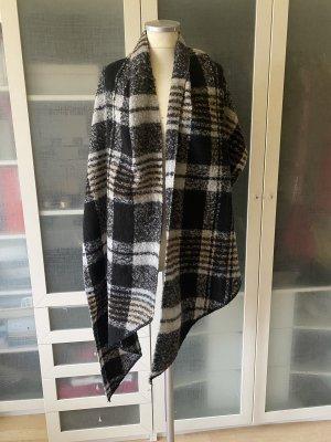 Zara Knit Wełniany szalik czarny-biały