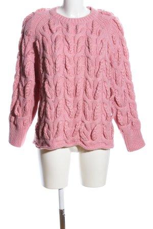 Zara Knit Warkoczowy sweter różowy Warkoczowy wzór W stylu casual