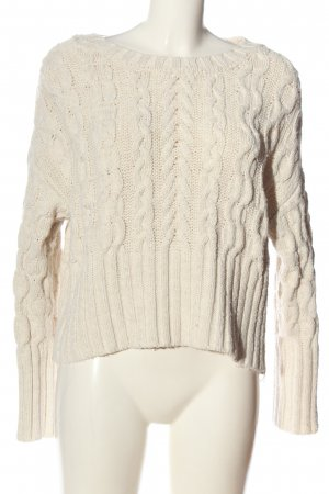 Zara Knit Maglione intrecciato bianco sporco punto treccia stile casual
