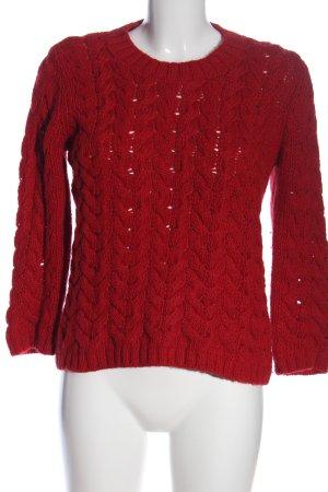 Zara Knit Warkoczowy sweter czerwony Warkoczowy wzór W stylu casual