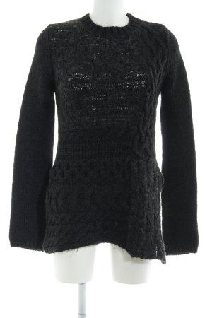 Zara Knit Warkoczowy sweter antracyt Warkoczowy wzór W stylu casual