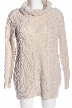 Zara Knit Cable Sweater natural white cable stitch casual look
