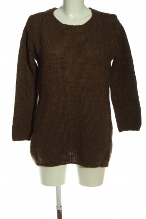 Zara Knit Jersey trenzado marrón moteado look casual
