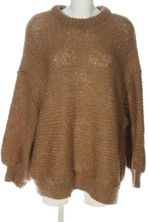 Zara Knit Pull torsadé brun torsades style décontracté