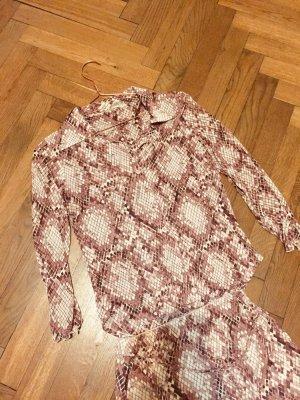 ZARA Kokaii Kleid zweiteilig Muster aubergine beige Rock Bluse Gr. 38 Gr. M Vintage