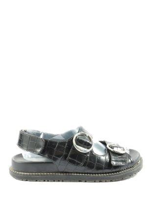 Zara Comfortabele sandalen zwart dierenprint casual uitstraling