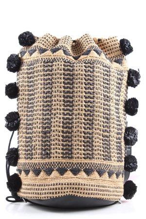Zara Bolso tipo cesta crema-negro look casual