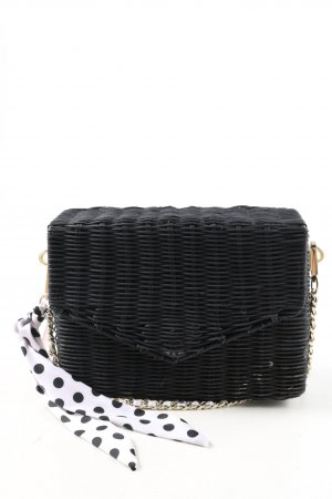 Zara Bolso tipo cesta negro-blanco estampado a lunares look casual