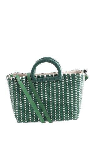 Zara Korbtasche grün-weiß Casual-Look