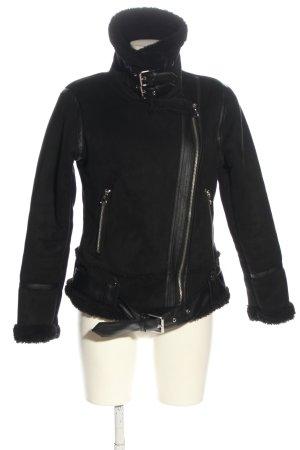 Zara Chaqueta de piel sintética negro look casual