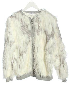 Zara Kurtka ze sztucznym futrem w kolorze białej wełny Elegancki