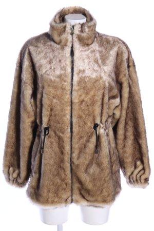Zara Chaqueta de piel sintética marrón look casual
