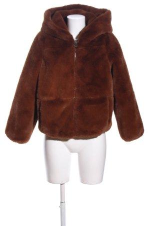Zara Giacca in eco pelliccia marrone stile casual