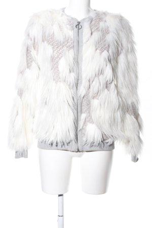 Zara Kunstfelljacke weiß-wollweiß Allover-Druck Casual-Look