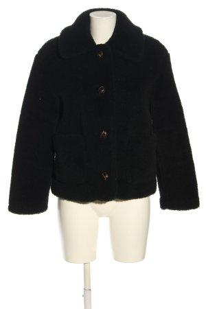 Zara Kurtka ze sztucznym futrem czarny W stylu casual