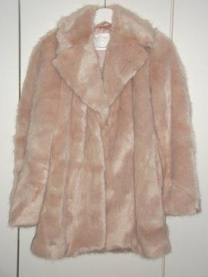 Zara Kunstfellmantel Faux Fur Fake Fur Rosa