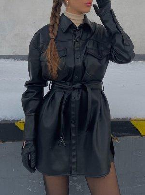 Zara Kurtka z imitacji skóry czarny