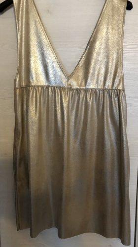 Zara Kunstleder Kleid Gold