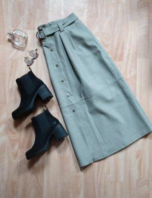 Zara Spódnica z imitacji skóry szaro-zielony-jasnozielony