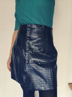 Zara kunstleder rock doppelreihig geknöpft high waist gr s