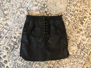 ZARA Kunstleder Rock Lace Up Biker Miliatry