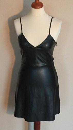 Zara Basic Vestido de cuero negro Imitación de cuero