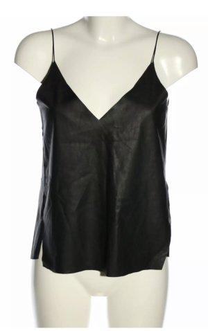 ZARA Kunstleder Trägertop schwarz Casual Damen Gr. L 38 Top Leder Black Sexy M
