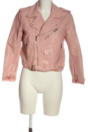 Zara Kunstlederjacke pink Casual-Look