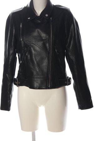 Zara Kurtka z imitacji skóry czarny W stylu casual