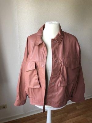 Zara Veste en cuir synthétique vieux rose-rosé