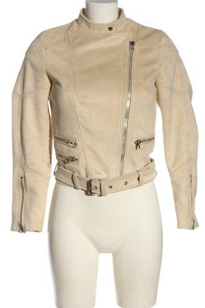 Zara Veste en cuir synthétique blanc cassé style décontracté